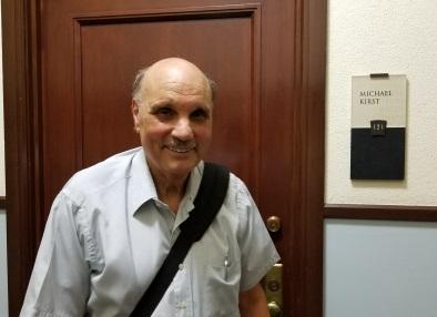 Michael Kirst in front of his office, Room 123, Cubberley Hall, Stanford University